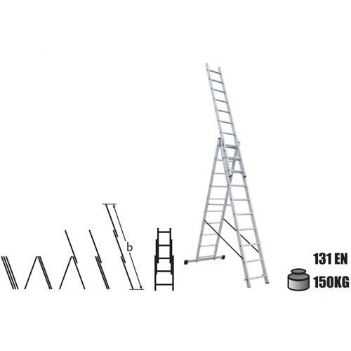 Комбинирани алуминиумски скали 3x9